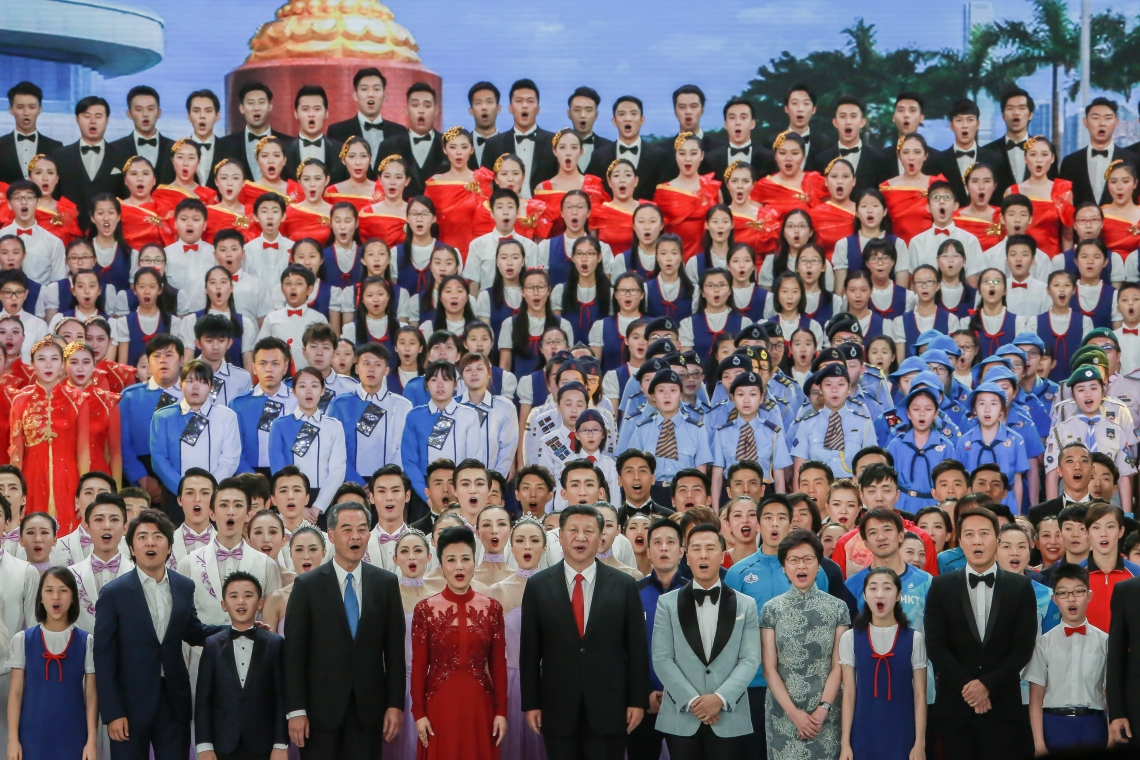 "President Xi having his three-day visit to Hong Kong for the first time after his position. At the 30 June reunification dinner gathering, he led then Chief Executive CY Leung, Chief Executive-elect Carrie Lam and other guests in singing ""Ode to the Motherland""."