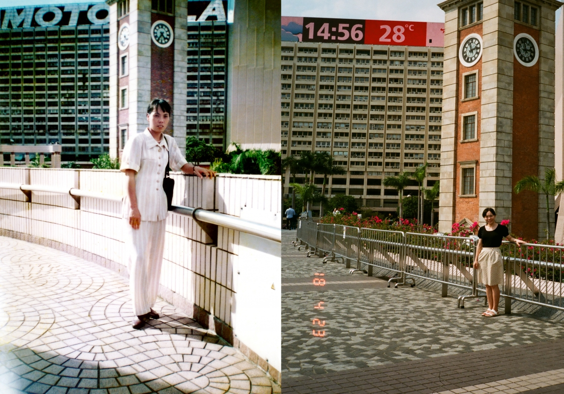 My mother posing in front of the Tsimshatsui clock tower more than 20 years ago. I had my only picture taken at the same spot earlier this year. There isn't much of a difference between the two photos; the weather looks fine in both. When I'm nervous my first reaction is to pose in a way reminiscent of the style typical in the 1980s and 1990s. I would also have my eyes closed until the photo's been taken. I wonder if my mother had the same thoughts as I did?