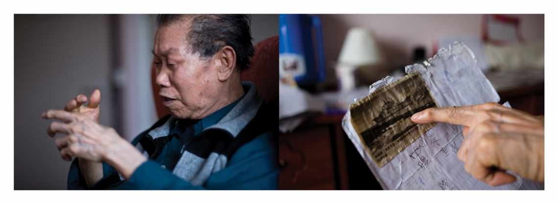 Tsang at an elderly home in North London. He showed his news clipping to me.