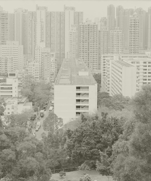 Housewife in Beacon Hill Garden bids farewell to the layers of housing civilization in the Kowloon Peninsula.