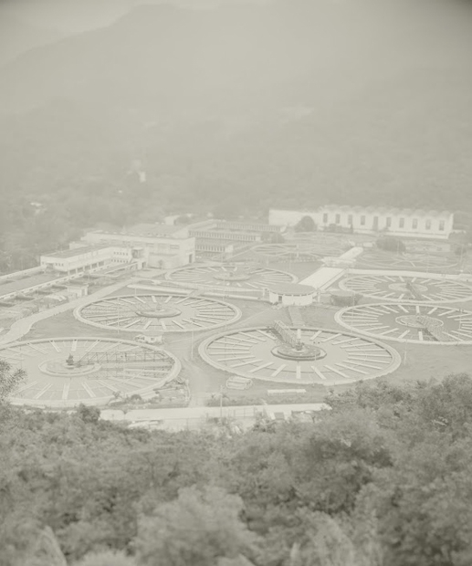 Technical staff in Shatin Water Treatment Works bids farewell to the ruins of the sewage treatment plant civilization.