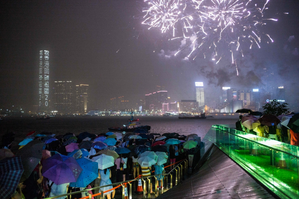"1 July 2017, the 20th anniversary of Hong Kong's return to China, President Xi Jinping visited Hong Kong for the first time since he took office. Citizens gathered on both sides of the harbour to enjoy the largest fireworks show. There is a saying in sociology: ""The more unstable the society, the bigger fireworks it needs to cover up insecurities."""