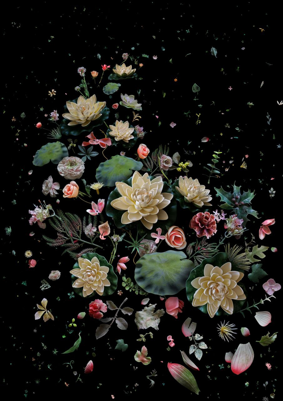 A collection of different species of waste artificial flowers that would not exist at the same flowering time in nature and should not be found in the ocean. The Lotus flower has associations with beauty as early as Guofeng in the Book of Poetry, written 3,000 years ago, where concerns are with the common senses of nature and everyday life, the underlying message in this image.  Includes; lotus flowers, leaves and petals, peony, carnation, rose, blossom, holly, ferns, castor and ivy leaves.   (Flowers; part of a collection recovered from various beaches over the past three years).